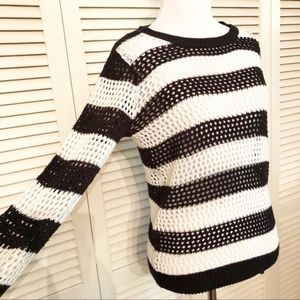 H&M | Black & White Striped Open Knit Sweater